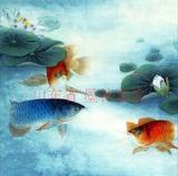 国画字画四尺斗方工笔花鸟画鱼金龙鱼荷花连年有余客厅茶楼装饰画