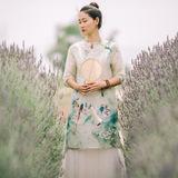 2016年夏季新款原创设计复古文艺中式汉服桑蚕丝长裙连衣裙长袍子