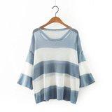 秋季新款韩版时尚百搭条纹领口破洞七分袖宽条针织衫薄款显瘦T恤