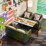 新品北欧咖啡厅沙发 桌椅组合甜品店奶茶店西餐厅 双人皮沙发卡座