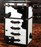 箱子 美式家具毛皮五斗柜 边柜 儿童衣柜 奶牛皮抽屉柜储物柜