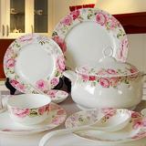 碗碟套装 景德镇陶瓷器28/56头骨瓷餐具套装 韩式家用碗盘碟礼品