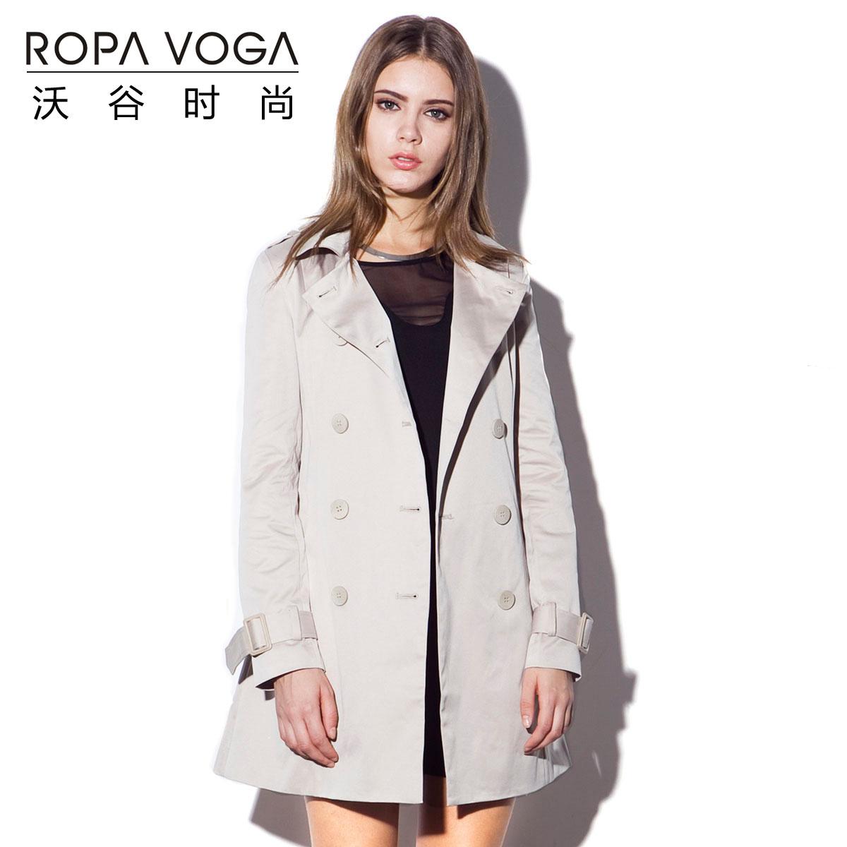 沃谷2014春装新品斗篷披肩领时尚修身双排扣中长风衣 大衣外套商品图片