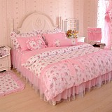 家纺床上用品全棉韩版四件套公主田园蕾丝花边纯棉床单床裙式包邮