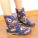 韩版水鞋女士雨鞋加绒水靴 女式雨靴鞋 女韩国中筒胶鞋时尚果冻套
