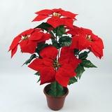 仿真花卉落地摆放绒布假花新年圣诞花束 7头一品红一片红万年红