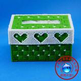 新款立体绣纸巾盒3D毛线十字绣抽纸盒特价手工三心丝带汽车批发
