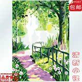 正品DIY数字油画 装饰风景绿树林壁画 清新小径40*50 60*75cm包邮