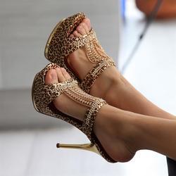 豹纹拖鞋女式高跟鞋