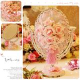 结婚礼物~粉色公主玫瑰~大号高档银色PVC镀锌台式镜子 化妆镜