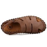 男士手工凉鞋夏季休闲沙滩鞋真皮骆驼凉鞋懒人鞋驾车鞋透气洞洞鞋