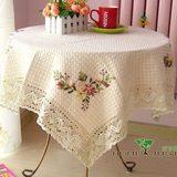 包邮 田园蕾丝 餐桌布茶几布 桌布布艺 圆桌 台布 手工丝带绣韩式