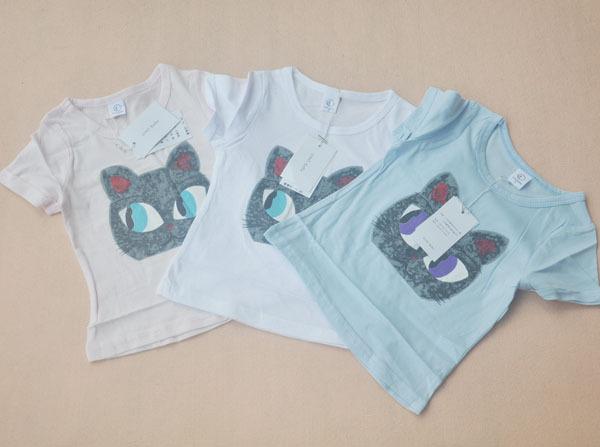 no bebe大依诺贝贝女童装猫脸图案短袖T恤◢三色图片