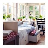 IKEA宜家代购家居 汉尼斯 坐卧两用床框架带3屉沙发单人双人储物