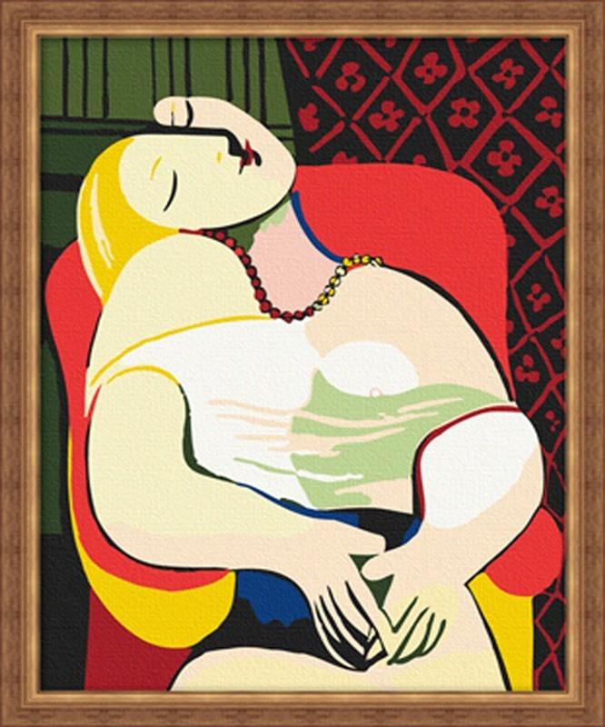 世界经典名画_毕加索梦30x40数字油画diy手工油画彩绘世界经典名画壁画创意礼品商品