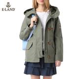 商场代购ELAND衣恋15年军绿色中长款夹克外套EEJA5S201I专柜正品