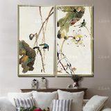 油画客厅装饰画玄关竖版挂画过道有框画现代中式水墨荷花小鸟抽象