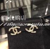 欧洲专柜正品代购 CHANEL香奈儿耳钉 新款纽纹大双CC镶钻 A63057