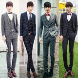 春季男士结婚西服套装韩版修身款新郎礼服格子西装英伦潮青年婚礼