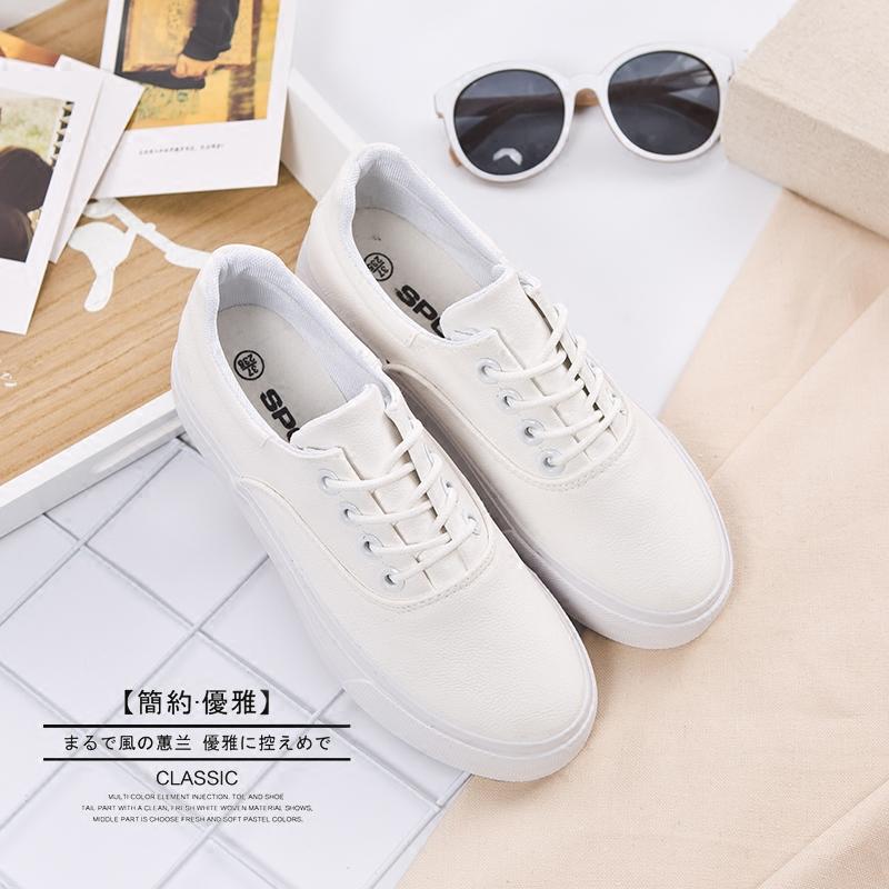 明星款松糕底低帮平底厚底小白鞋皮面鞋女鞋子休闲板鞋黑白鞋商品图片图片