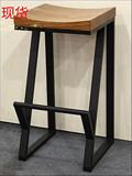 吧台椅酒吧椅咖啡厅创意休闲椅子实木高脚凳前台椅铁艺复古吧凳