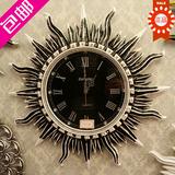 欧式复古家居钟表太阳艺术挂钟 现代静音钟 客厅创意复古树脂壁钟