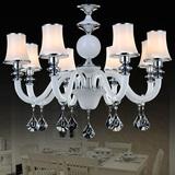 欧式吊灯客厅大气别墅复式水晶吊灯白色玻璃艺术卧室吊灯餐厅灯具