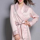 新款睡袍女夏天长袖薄款宽松丝绸浴袍 春秋奢华冰丝性感睡衣睡裙