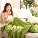 全棉双面针织毯休闲毯纯色办公室午睡单人小毛毯加厚盖毯毛巾毯子