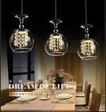 LED欧式水晶吊灯餐厅灯吧台吊灯单头三现代简约个性酒杯灯具创意