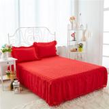 加棉床罩床裙单件防滑1.5/1.8米床席梦思夹棉蕾丝床套200×220