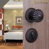 美国贝尔维帝纯铜/美式/欧式仿古球形黑色铜锁/室内分体门锁/卧室