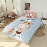 全棉卡通三件套儿童床可爱套件学生单人宿舍床上下铺三件套1.2米