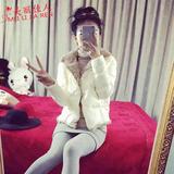 欧洲站2015冬装品牌女装新款韩版羊羔毛修身短款外套羽绒棉衣女潮