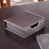 饰爵纯手工创意皮质平纹便签盒 收纳盒 简约 桌面收纳 商务办公盒