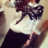 韩版秋冬季新款女装图案拼色内搭针织衫套头毛衣女长袖打底衫短款
