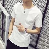 夏季男士短袖t恤男韩版潮流修身休闲运动T恤男装半袖V领体恤夏装