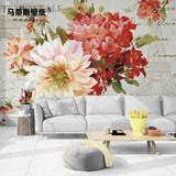马蒂斯3d无缝壁画 田园美式乡村花卉墙纸 客厅卧室电视背景墙壁纸