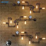 loft复古咖啡厅工业风过道装饰阳台灯具美式餐厅酒吧铁艺水管壁灯