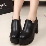 新款厚底休闲百搭马丁鞋黑色粗跟小皮鞋女鞋高跟英伦学院春秋单鞋