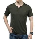 NIAN JEEP纯色T恤男短袖体恤V领宽松半袖t桖纯色打底衫男短袖夏季