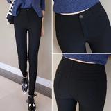 加绒加厚打底裤外穿黑色小脚铅笔裤弹力紧身显瘦高腰女长裤秋冬季