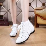 包邮春秋真皮女士短靴白色圆头单靴镂空靴内增高平底女靴33-43码