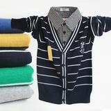 包邮 男童开衫毛衣 中大童衬衫翻领假两件套儿童纯棉线衣春秋装B2