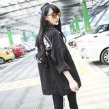 春秋新款女装钉珠领宽松BF风黑色牛仔外套九分袖韩版夹克短外套潮