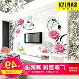 塞丽雅电视背景墙纸壁纸3D无缝无纺布欧式客厅卧室墙布壁画玫瑰花