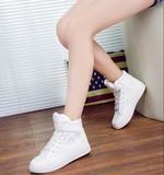 春秋新款潮女学生迷彩高帮帆布鞋韩版魔术贴小白鞋女休闲平底板鞋