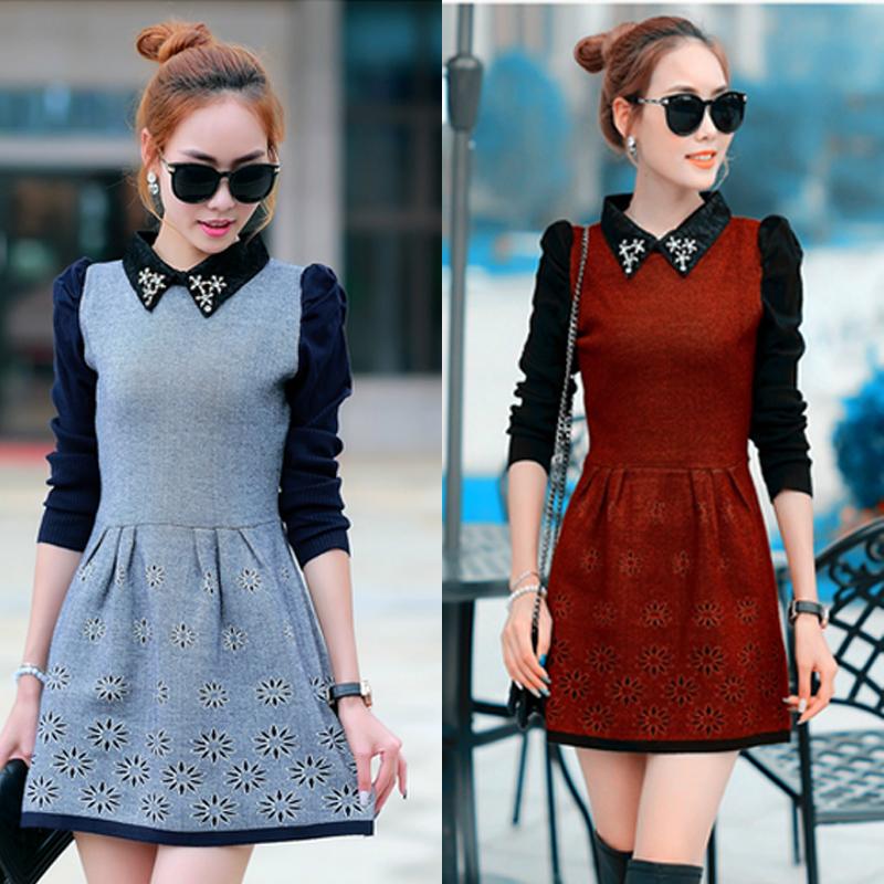 2016早春新款韓版時尚顯瘦娃娃領羊絨中長款大碼針織羊毛衫連衣裙圖片