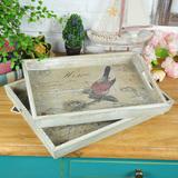 旧新古典包邮热卖美式乡村欧式样板房软装饰品木质艺术托盘复古怀