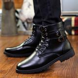 冬季加绒男靴子英伦马丁靴男士棉鞋皮靴军靴休闲高帮男鞋雪地短靴